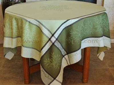 OLIVE GREEN Jacquard Woven Teflon Cotton Coated French Tablecloths - Easy Clean Elegant Party Table Decor - French Country Olives Home Decor Gifts