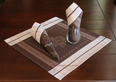 ELEGANCE BROWN French Provence Jacquard Woven Cotton Napkins Set - Table Decor - French Home Decor