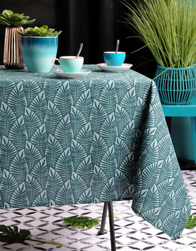 ABSTRACT LEAVES GREEN Modern Art Design Cotton Coated Table cloth - French Oil cloth Spill Proof Easy Wipe Off Party Tablecloth - Indoor Outdoor Elegant Classic Modern French Home Decor