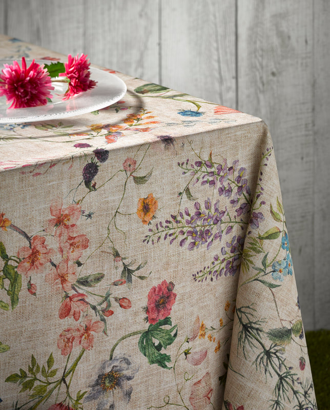 AMELIE French Country Wild Flowers Berries Rectangle Table cloths - Acrylic Cotton Coated Easy Wipe Off Fabric - Indoor Outdoor Party Table Decor