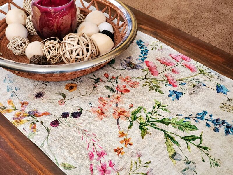 AMELIE French Acrylic Cotton Coated Decorative Table Runner - French Modern Oilcloth Wipe Off Fabric - French Provence Table Accent - Home Decoration Accessories Gifts