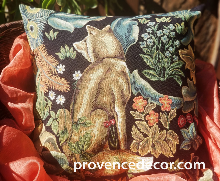 THE FOREST FOX BLACK Authentic European Tapestry Decorative Throw Pillow Cover - William Morris Jacquard Woven 18 X 18 Cushion Covers - William Morris Vintage Art Lovers Gift - Museum Art Gallery Gifts Home Decor
