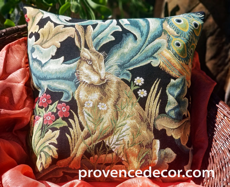 THE FOREST HARE RABBIT BLACK Authentic European Tapestry Decorative Throw Pillow Cover - William Morris Jacquard Woven 18 X 18 Cushion Covers - William Morris Vintage Art Lovers Gift - Museum Art Gallery Gifts Home Decor
