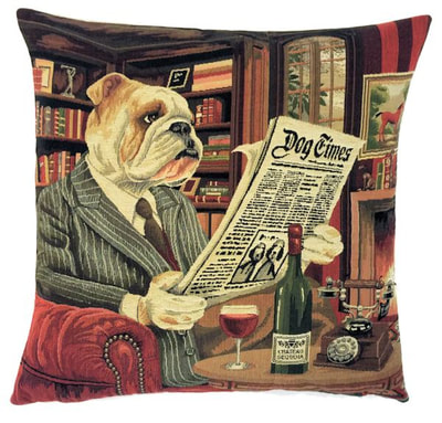 GENTLEMAN BULLDOG READING DOG TIMES NEWSPAPER European Belgian Tapestry Throw Pillow Cases 18 X 18 square - Decorative Pillow Covers - Zippered Pillow Case - Belgium Tapestry Cushion Cases - Bulldog Home Decor Gift - Fun Dogs Cushion Covers - Dog Art - Dog Lovers