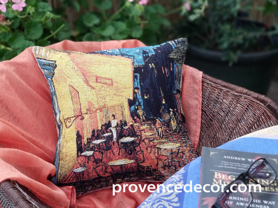 CAFE TERRACE Jacquard Woven Gobelin Tapestry Throw Pillow Cases - Van Gogh Art Lovers Decorative Cushion Covers - Famous Art Gallery Gifts Home Decor