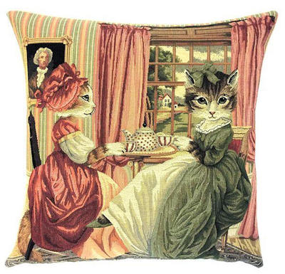 CATS TEA PARTY European Belgian Tapestry Throw Pillow Cases 18 X 18 square - Decorative Pillow Covers - Zippered Pillow Case - Jacquard Woven Belgium Tapestry Throw Cushions - Victorian Style Fun Dressed Cat Cushion Covers - Cat Lovers Gift - Cat Art - Pillow Covers Home Decor