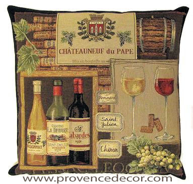 "This CHATEAUNEUF DU PAPE WINERY Tapestry Pillow Cover is woven on a Jacquard loom (crafted with true traditional tapestry technique) with 100% high quality cotton thread, lined with a plain beige cotton backing and closes with a zipper. Size: 18"" X 18"""