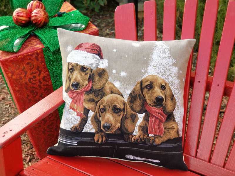 SANTA CLAUS CHRISTMAS PUPPY DOGS Authentic European Tapestry Throw Pillow Case - Spaniels Pups XMAS Decorative Pillow Covers - Fun Dressed Dogs Cushion Covers - Christmas Dog Pillow Case Gift - Christmas Mountain Home Resort Decoration