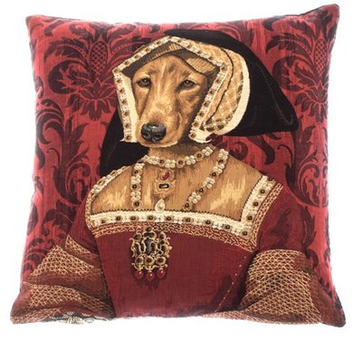 QUEEN CLAUDE DE FRANCE Authentic European Gobelin Jacquard Woven Tapestry Belgian Throw Pillow Cases - Royal Dogs - Fun Dressed Dog Decorative Belgium Cushion Covers - Terrier Dog Lovers Gifts 18in square