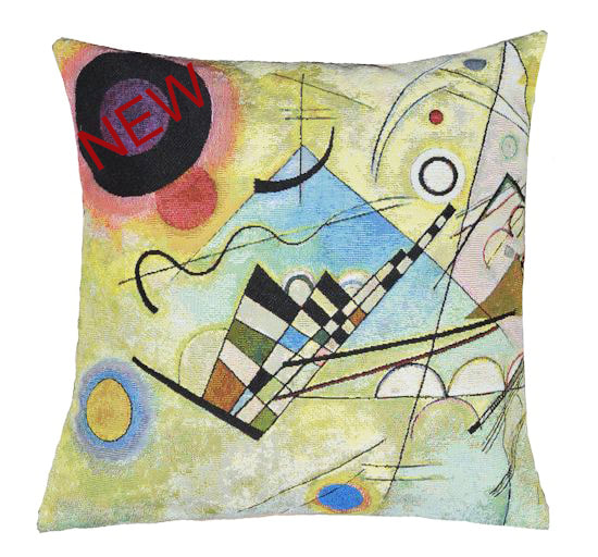 COMPOSITION VIII Jacquard Woven Authentic Tapestry Throw Pillow Cases - Wassily Kandinsky Abstract Art Lovers Gift Cushion Covers - Famous Art Gallery Gifts Home Decor