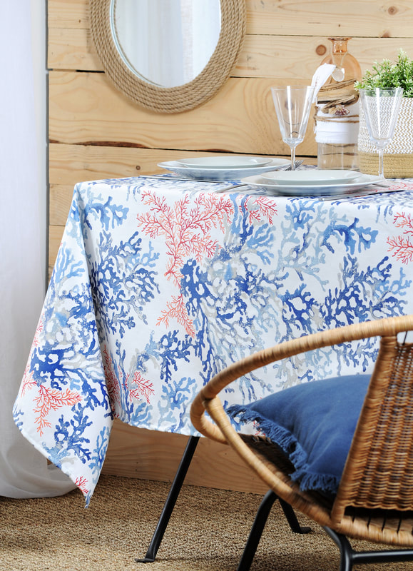 CORSICA CORAL REEFS French Riviera Ocean Table cloths - French Oilcloth Acrylic Cotton Coated Spill Proof Easy Wipe Off Fabric - In/Outdoor Decorative Party Table Decor - Elegant Nature Beach Home Decor