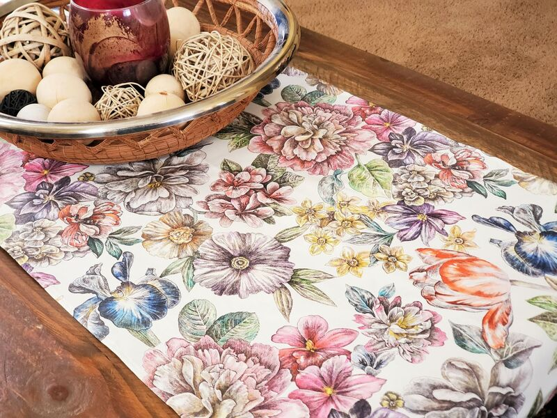 DAHLIA GARDEN French Acrylic Cotton Coated Decorative Table Runner - French Modern Oilcloth Wipe Off Fabric - French Provence Table Accent - Home Decoration Accessories Gifts