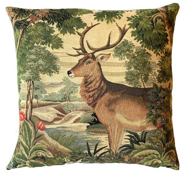 DEER FOREST RIVER Authentic European Tapestry Throw Pillow Case - Mountain Stag Decorative Pillow Covers - Nature Forest Cushion Covers - Mountain Homes Resorts Art Pillow Case - Animal Lovers Home Decor Gifts