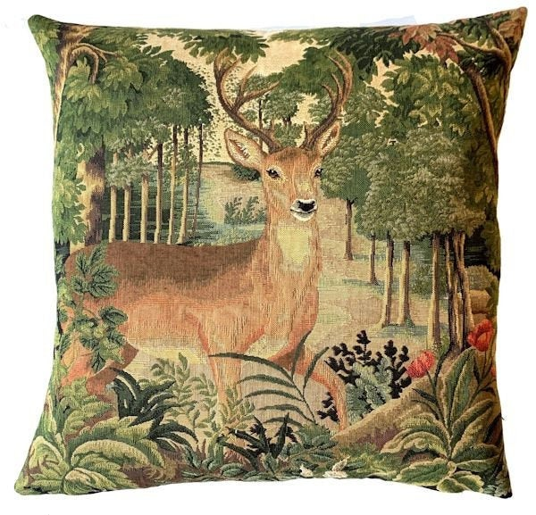 DEER FOREST WOODLAND Authentic European Tapestry Throw Pillow Case - Mountain Stag Decorative Pillow Covers - Nature Forest Cushion Covers - Mountain Homes Resorts Art Pillow Case - Animal Lovers Home Decor Gifts