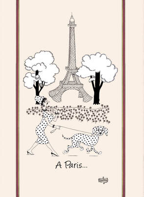DUBOUT DOG IN PARIS Exclusive Design Dishtowels - Elegant 100% Cotton Kitchen Towels - Cat and Animal Lovers Dish Cloths - Fun Dubout Artwork Decorative Kitchen Tea Towels - Home Decor Accessories Gifts
