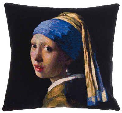 "The GIRL WITH A PEARL EARRING Tapestry Cushion Cover is a replica of Johannes Vermeer famous artwork in Tapestry. The details are exquisite, looks like a real painting. These gorgeous Jacquard Tapestry Throw Pillow Cases are the authentic GOBELIN Tapestry woven with 100% high quality cotton, lined with a soft beige velvet backing and close with a zipper.  Size: 18"" X 18"""