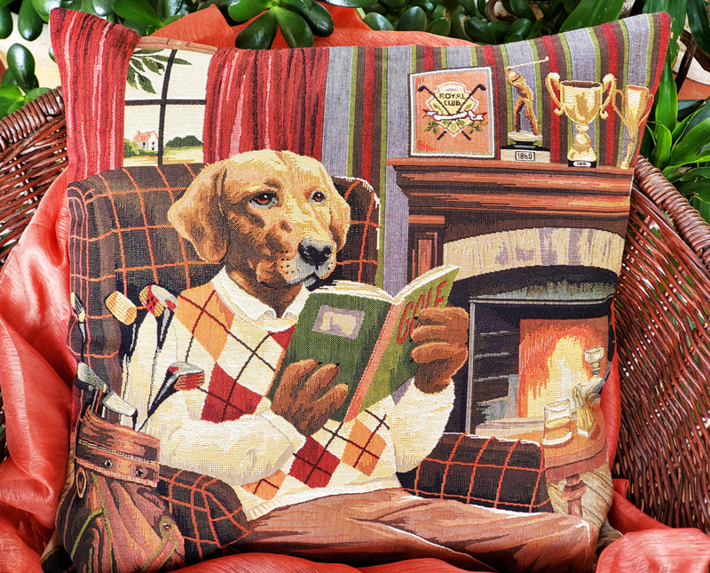 GOLFER DOG IN LIBRARY Authentic European Tapestry Throw Pillow Cases - Golfing Animal Lovers Decorative Cushion Covers - Golf Players Home Decor Gifts