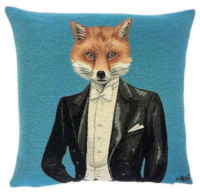 GENTLEMAN FOX IN TUXEDO European Belgian Tapestry Throw Pillow Cases - Decorative Pillow Covers - Zippered Throw Pillow Case - Jacquard Woven Tapestry Pillow Cover - Fox Lovers Throw Cushion Covers - Forest Animal Lovers Gift - Gifts Home Decor