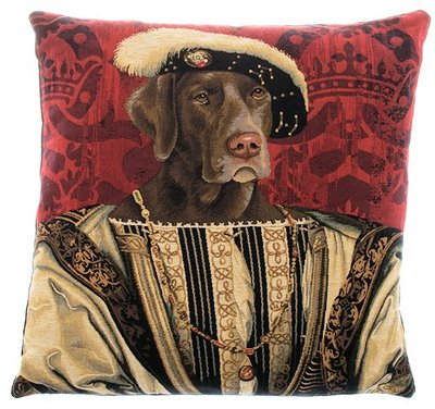DOG KING FRANCIS I Authentic European Belgian Tapestry Throw Pillow Cases 18 in square - Decorative Pillow Covers - Zippered Throw Pillow Case - Gobelin Jacquard Woven Belgium Tapestry - Royal Dogs - Fun Dressed Dog Cushion Covers - Weimaraner Dog Lovers Gifts