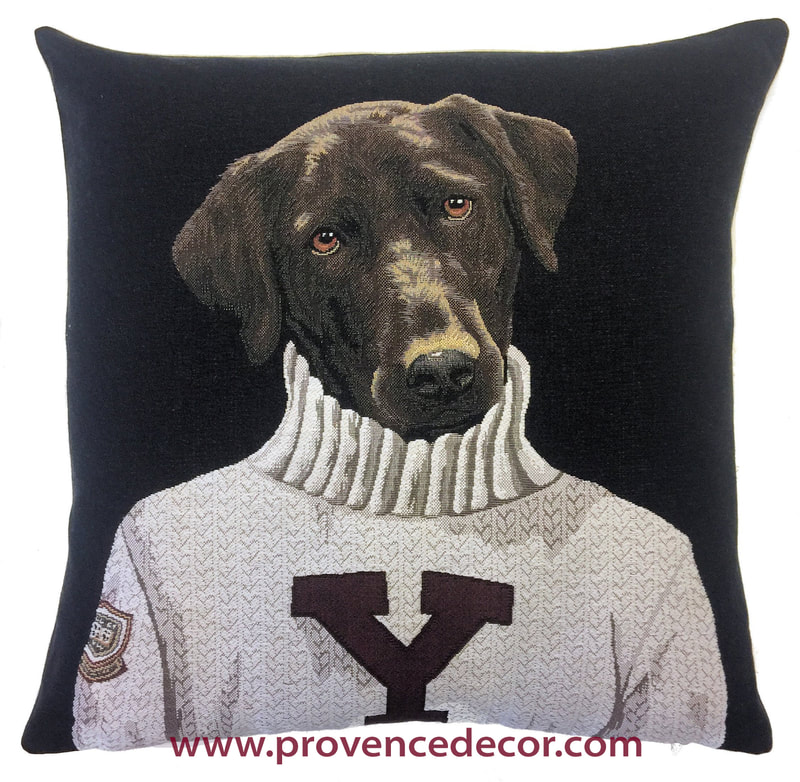 BLACK/CHOCOLATE LABRADOR COLLEGE UNIVERSITY Authentic European Tapestry Decorative Throw Pillow Cases - University Students Cushion Covers Decor - Dog University Student Graduation Art Pillow Cover Gift
