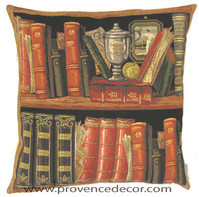 "This ANTIQUE LIBRARY Tapestry Pillow Cover is woven on a Jacquard loom (crafted with true traditional tapestry technique) with 100% high quality cotton thread, lined with a plain beige cotton backing and closes with a zipper. Size: 18"" X 18"""