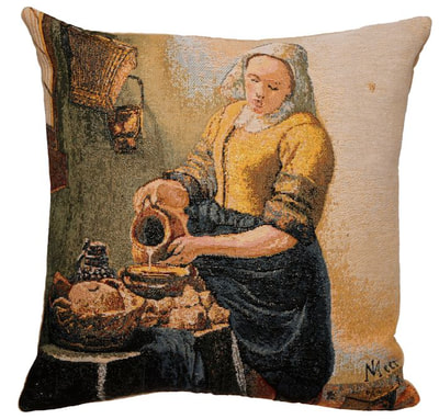 "The THE MILKMAID Tapestry Cushion Cover is a replica of Johannes Vermeer famous artwork in Tapestry. The details are exquisite, looks like a real painting. These gorgeous Jacquard Tapestry Throw Pillow Cases are the authentic GOBELIN Tapestry woven with 100% high quality cotton, lined with a soft beige velvet backing and close with a zipper. Size: 16"" X 16"""