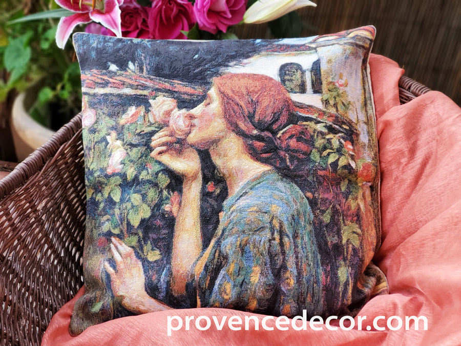 MY SWEET ROSE Jacquard Tapestry Decorative Throw Pillow Cases - Soul of the Rose by John William Waterhouse Famous Museum Art Gallery Painting Cushion Covers - Garden Rose Flowers Lovers Home Decor Gifts