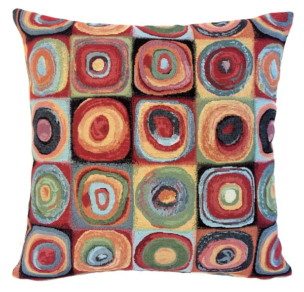 KALEIDOSCOPE ORBIT Belgian Tapestry Throw Pillow Cases - Decorative 18 X 18 Square Pillow Covers - Zippered Throw Pillow Case - Jacquard Woven Belgium Tapestry Cushion Covers - Multi Color Reversible Throw Cushions - Modern House Home Decor Gifts