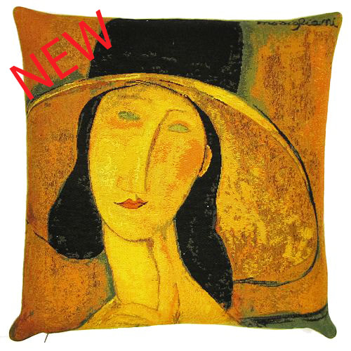 PORTRAIT OF JEANNE HEBUTERNE IN A LARGE HAT Authentic European Tapestry Decorative Throw Pillow Cover - Jacquard Woven 18 X 18 Cushion Covers - Amedeo Modigliani Vintage Art Lovers Gift - Museum Art Gallery Gifts Home Decor