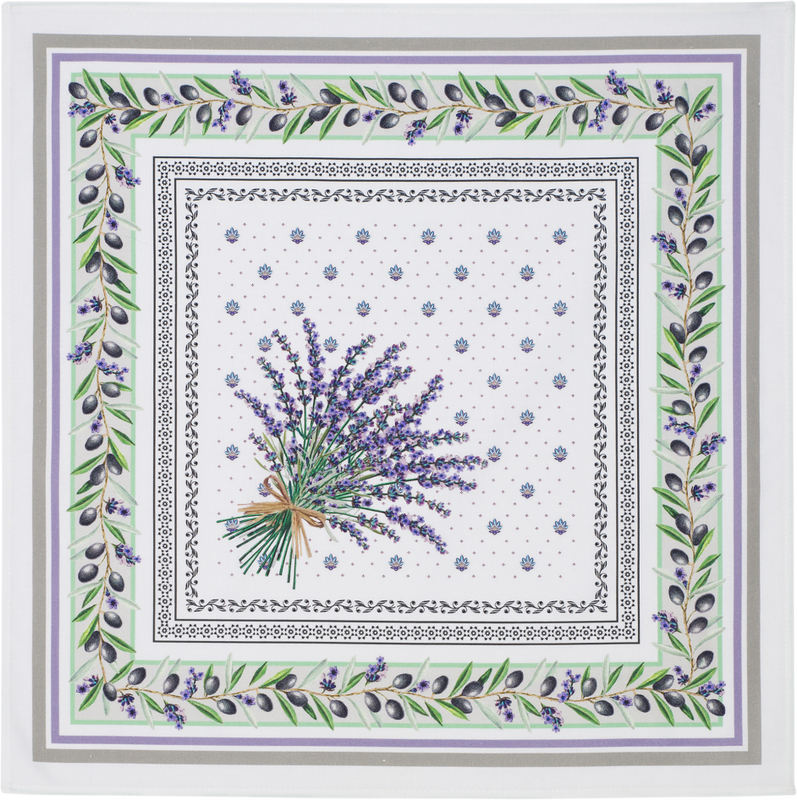 PROVENCE LAVENDER French Decorative Napkin Set - High Quality Absorbent Soft Printed Cotton - French Country Design - Provence Olives Lavender Flowers Table Home Decor Gifts