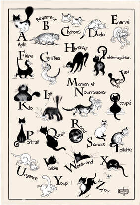 DUBOUT CATS ABC'S Exclusive Design French Dishtowels - Elegant 100% Cotton Kitchen Towels - Cat and Animal Lovers Dish Cloths - Fun Dubout Paris Artwork Decorative Kitchen Tea Towels - Home Decor Accessories Gifts