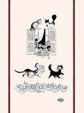 DUBOUT CATS BY THE WINDOW Exclusive Design French Dishtowels - Elegant 100% Cotton Kitchen Towels - Cat and Animal Lovers Dish Cloths - Fun Dubout Paris Artwork Decorative Kitchen Tea Towels - Home Decor Accessories Gifts