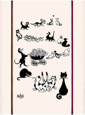 DUBOUT CAT FAMILY Exclusive Design French Dishtowels - Elegant 100% Cotton Kitchen Towels - Cat and Animal Lovers Dish Cloths - Fun Dubout Paris Artwork Decorative Kitchen Tea Towels - Home Decor Accessories Gifts
