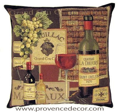 "This CHATEAU LA DHOURE - PUILLAC WINERY Tapestry Pillow Cover is woven on a Jacquard loom (crafted with true traditional tapestry technique) with 100% high quality cotton thread, lined with a plain beige cotton backing and closes with a zipper. Size: 18"" X 18"""