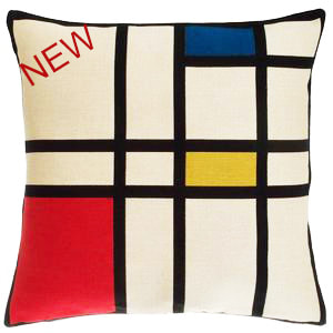 RED BLUE YELLOW Authentic European Tapestry Decorative Throw Pillow Cases - Pieter Mondriaan Jacquard Woven 18 X 18 Cushion Covers - Piet Mondrian Abstract Art Lovers Gift - Famous Art Gallery Gifts Home Decor