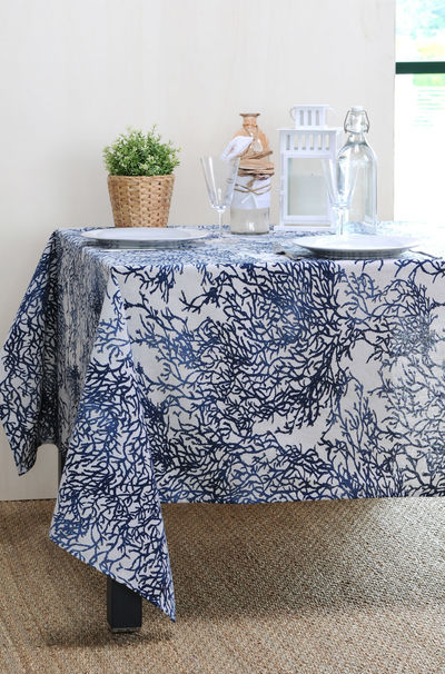 FRENCH RIVIERA BLUE Acrylic Coated French Provence Tablecloth - French Oilcloth Indoor Outdoor Table Decor - Water Stain Resistant Wipeable Tablecloths - French Country Home Decor Gifts