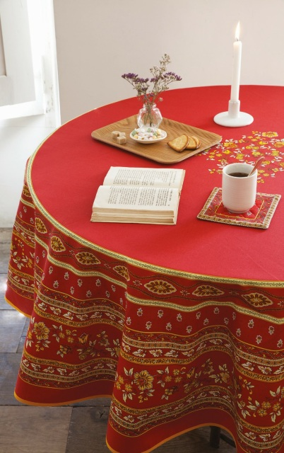 Avignon Red Round Rectangle Cotton French Provence