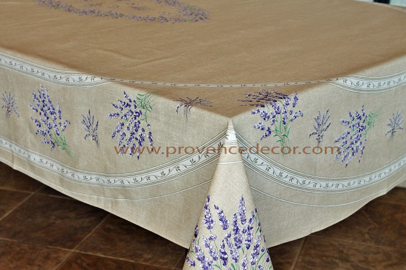Lavender Taupe Cotton Coated French Provence Tablecloth