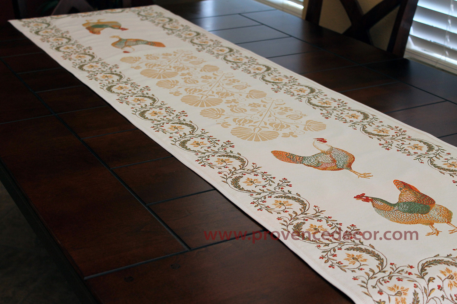 Provence Rooster French Jacquard Tapestry Table Runner