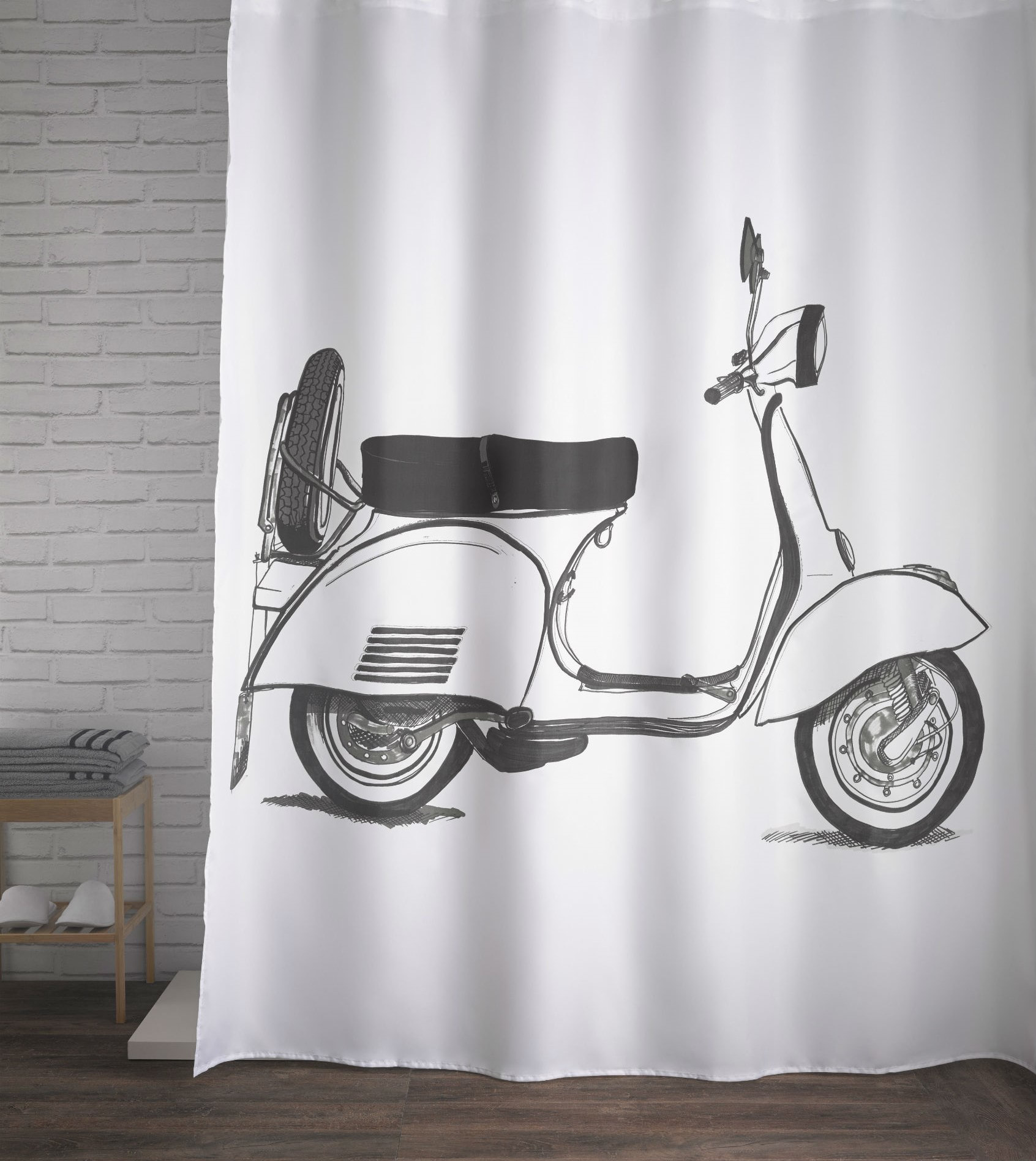Classic Vespa Black White Shower Curtain European Classic Bathroom Decor Home Decor Gifts