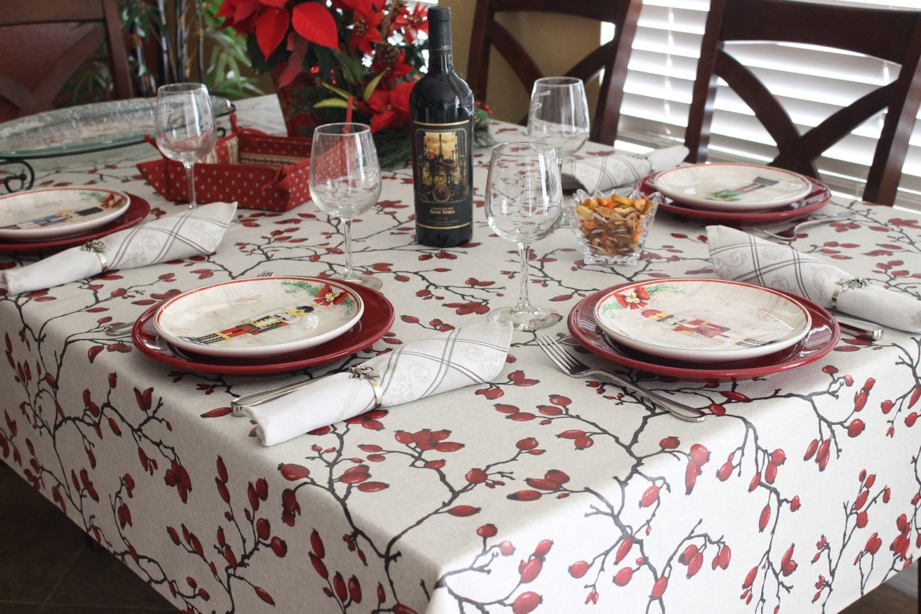 XMAS WINTER BERRY Acrylic Cotton Coated Tablecloth French Oilcloth Indoor Outdoor Christmas Party Table Decor Water Stain Resistant Wipe off