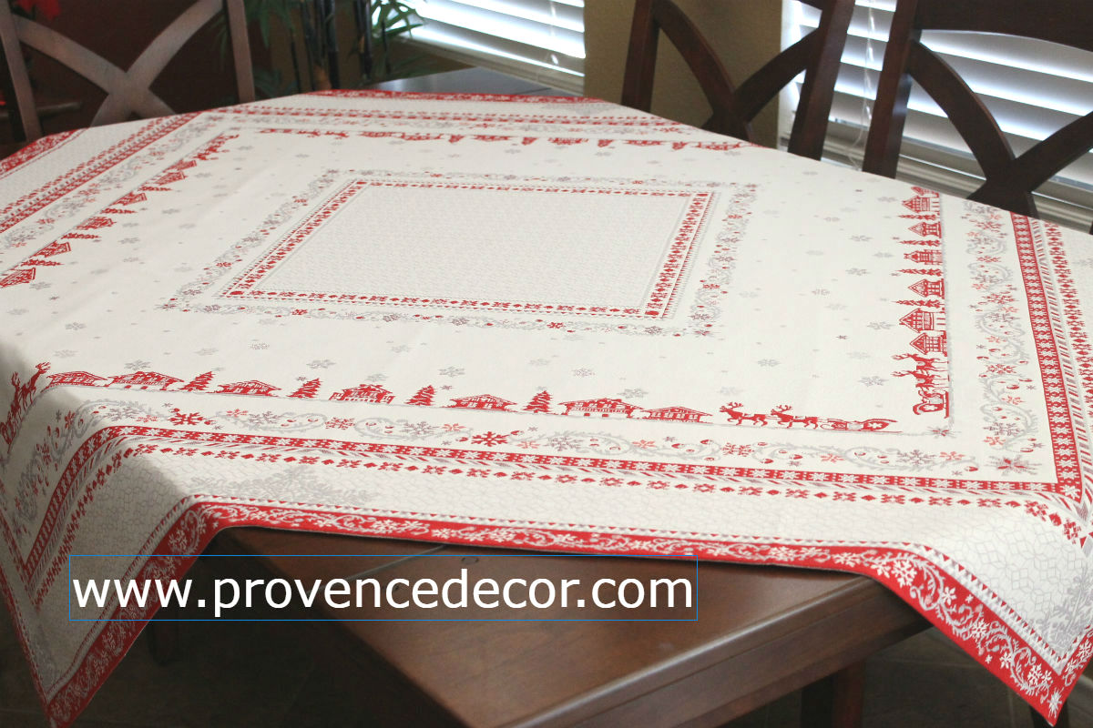 Megeve Christmas Jacquard Woven Tapestry Tablecloths