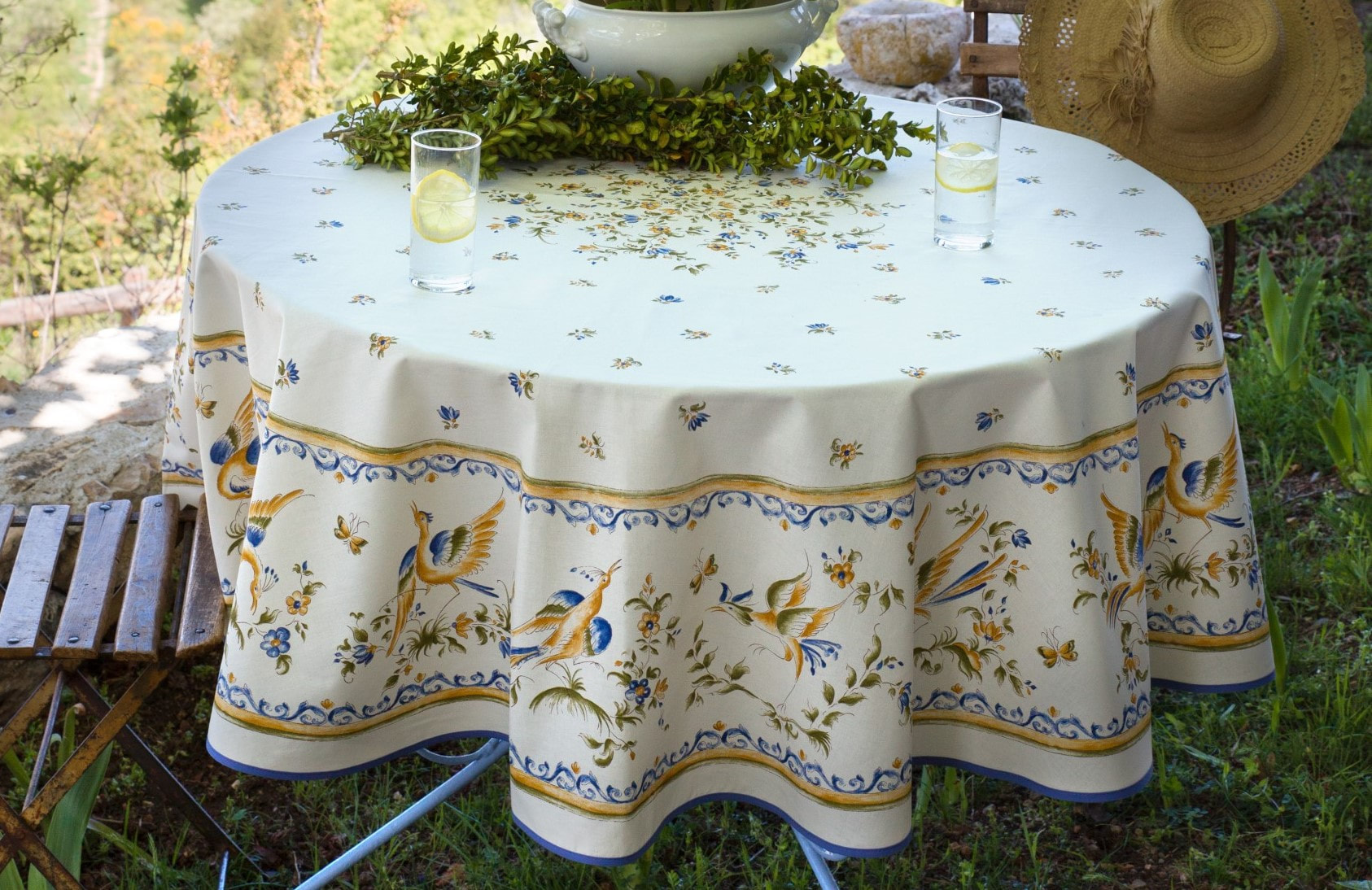 Moustier Blue Cotton Tablecloths French Country Table Cloth Decor Gifts Elegant Farm House Tablecloths
