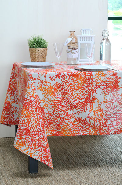 FRENCH RIVIERA CORAL Acrylic Coated French Provence Tablecloth - French Oilcloth Indoor Outdoor Table Decor - Water Stain Resistant Wipeable Tablecloths - French Country Home Decor Gifts