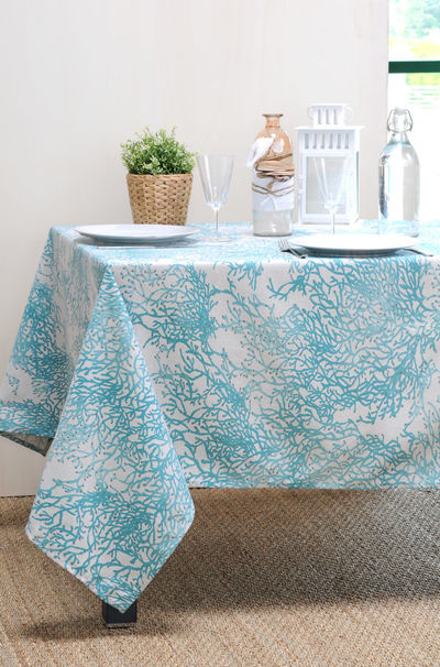 FRENCH RIVIERA TURQUOISE Acrylic Coated French Provence Tablecloth - French Oilcloth Indoor Outdoor Table Decor - Water Stain Resistant Wipeable Tablecloths - French Country Home Decor Gifts