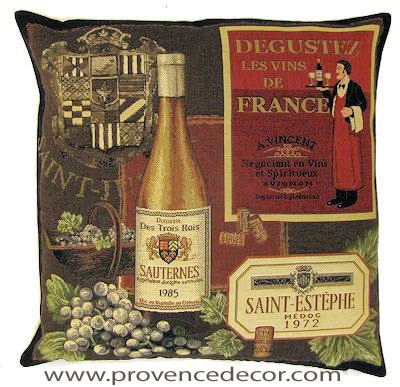 "This SAUTERNES 1985 Tapestry Pillow Cover is woven on a Jacquard loom (crafted with true traditional tapestry technique) with 100% high quality cotton thread, lined with a plain beige cotton backing and closes with a zipper. Size: 18"" X 18"""