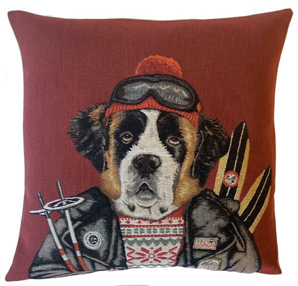 SAINT BERNARD SKI DOG Authentic European Tapestry Throw Pillow Case - Saint Bernard Dog Vintage Ski Decorative Pillow Covers - Winter Skier Dressed Dogs Cushion Covers - Ski Homes Mountain Resorts Art Pillow Case - Ski Lovers Home Decor Gifts