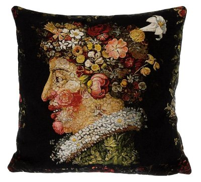 "The SPRING Tapestry Cushion is a replica of Giuseppe Arcimboldo famous artwork in Tapestry. The details are exquisite, looks like a real painting. These gorgeous Jacquard Tapestry Throw Pillow Cases are the authentic GOBELIN Tapestry woven with 100% high quality cotton, lined with a soft beige velvet backing and close with a zipper. Size: 18"" X 18"""