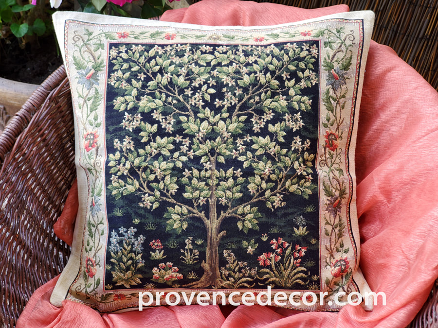TREE OF LIFE BLACK Authentic European Tapestry Throw Pillow Case - William Morris Decorative Pillow Covers - Nature Museum Art Decor Cushion Covers - Art in Tapestry Home Decor Gifts
