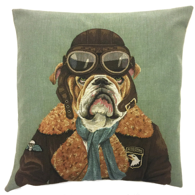 VINTAGE BULLDOG AVIATOR AIR FORCE AIRBORNE PILOT STEWARD Belgian Tapestry Throw Pillow Cases - Decorative 18 X 18 Square Pillow Covers - Zippered Throw Pillow Case - Jacquard Woven Belgium Tapestry Cushion Covers - Fun DOGS Throw Cushions - Home Decor Gifts